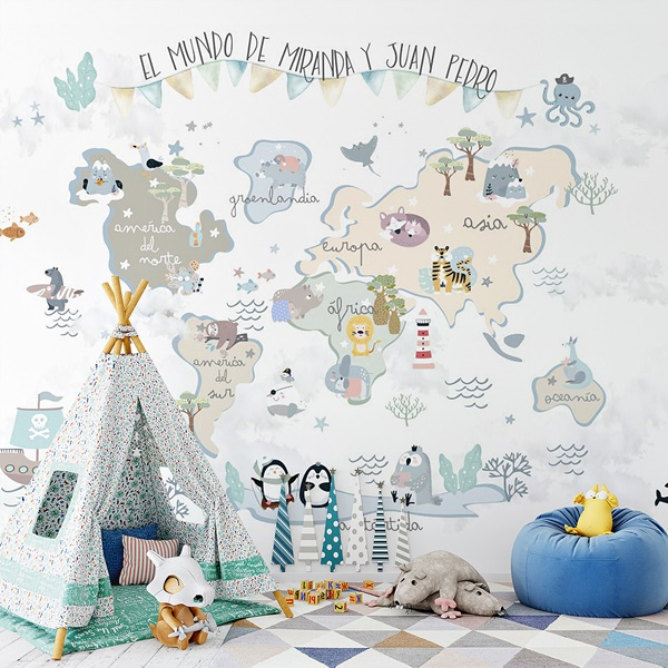 Mural infantil mapamundi Fantasia con texto personalizable